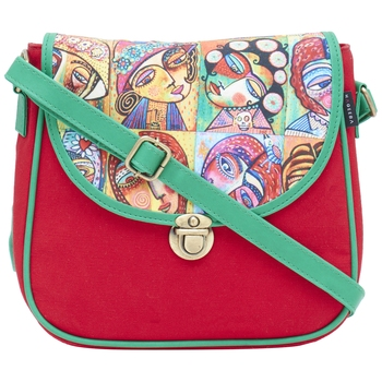 Haqeeba Casual Women Red Multi Face Printed Sling Bag
