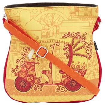 Haqeeba Casual Women Orange Ethnic Printed Sling Bag