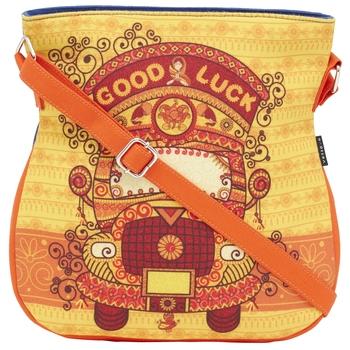 Haqeeba Casual Women Orange Ethnic Printed Sling Bag