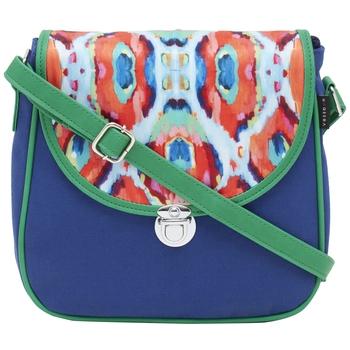 Haqeeba Casual Women Blue, Printed Canvas Sling bag