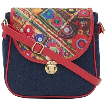 Haqeeba Casual Women Blue, Multicolored Printed Denim Sling Bag