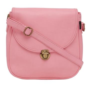 Haqeeba Casual Women Leatherette Pink Sling Bag