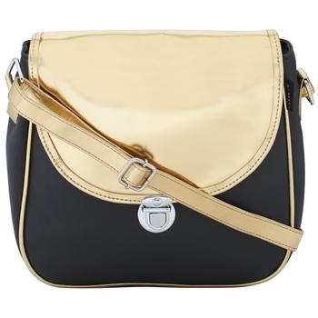 Haqeeba Casual Women Leatherette Black & Gold Sling Bag