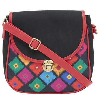 Haqeeba Casual Women Black Diamond Print Multicolored Canvas Sling Bag