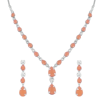 Pink crystal necklace sets