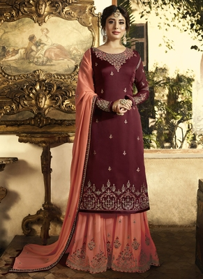 Maroon embroidered georgette salwar with dupatta