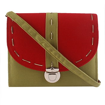 Haqeeba Casual Women Green and Red Canvas Sling Bag