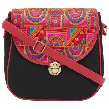 Haqeeba Casual Black, Multicolor Jacquard/Canvas Sling Bag