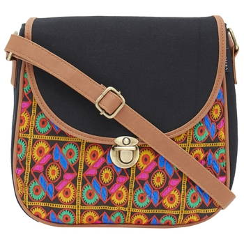 Haqeeba Casual Black, Multicolor Jacquard/Canvas Sling Bag