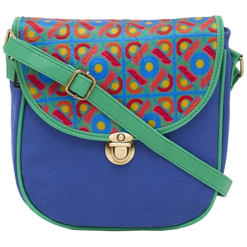 Haqeeba Casual Blue, Multicolor Jacquard/Canvas Sling Bag