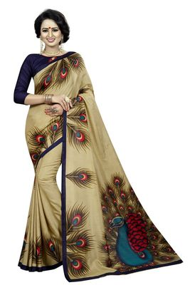 Golden printed malgudi art silk saree with blouse