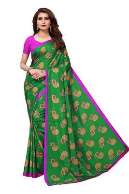 Green printed malgudi art silk saree with blouse