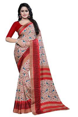 Multicolor printed malgudi art silk saree with blouse