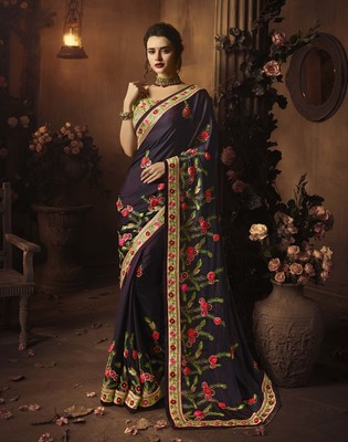 Plum embroidered silk blend saree with blouse