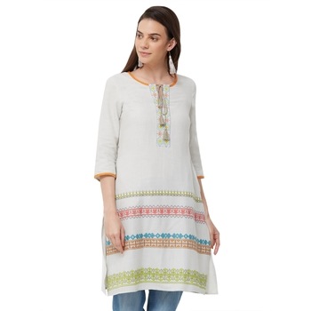 Grey embroidered viscose long tops