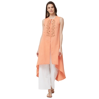 Orange  embroidered cotton long tops