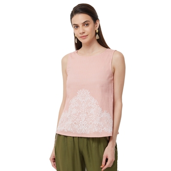 Pink  embroidered cotton long tops