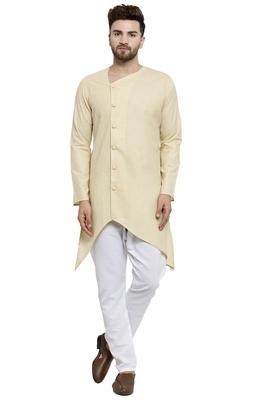Designer Beige Linen Kurta With Aligarh Pyjama For Men By Treemoda