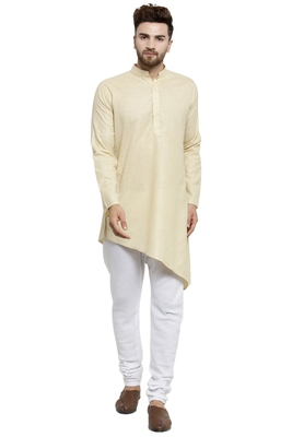 Designer Beige Linen Kurta With Churidar Pyjama For Men By Treemoda