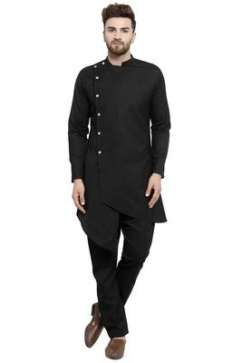 Designer Black Linen Kurta With Black Aligarh Pyjama For Men By Treemoda