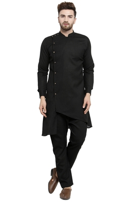 Designer Black Linen Kurta With Black Aligarh Pyjama For Men By Treemoda