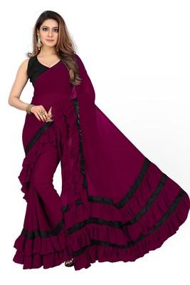 Dark wine plain georgette saree with blouse