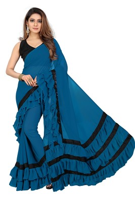 Dark sky blue plain georgette saree with blouse