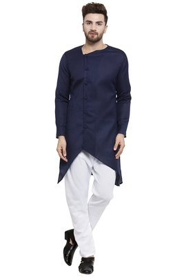 Designer Navy Blue Linen Kurta With Aligarh Pyjama For Men By Treemoda