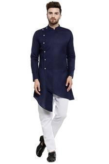 b020703f8 Designer Navy Blue Linen Kurta With Aligarh Pyjama For Men By Treemoda
