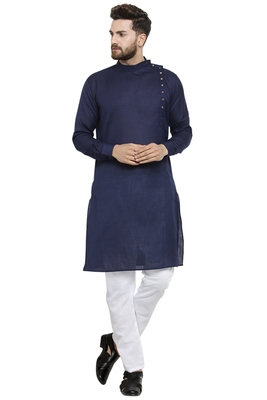 Designer Navy Blue Linen Kurta With Aligarh Pyjama For Men By Treemoda