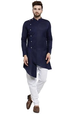 Designer Navy Blue Linen Kurta With Churidar Pyjama For Men By Treemoda