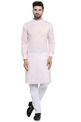 Designer Pink Linen Kurta With Aligarh Pyjama For Men By Treemoda