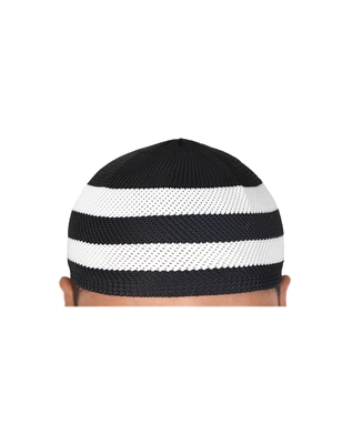 black and white stripes muslim prayer cap