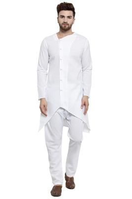 Designer White Linen Kurta With Aligarh Pyjama For Men By Treemoda