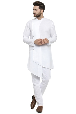 Designer White Linen Kurta With Aligarh Pyjama For Men By Treemoda