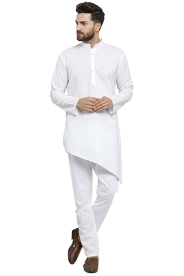 3d9911f725 Designer White Linen Kurta With Aligarh Pyjama For Men By Treemoda ...