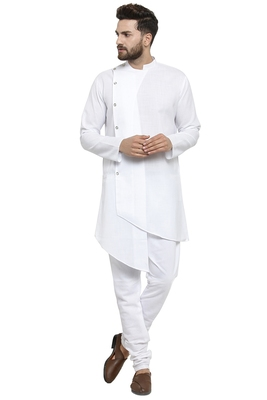 Designer White Linen Kurta With Churidar Pyjama For Men By Treemoda
