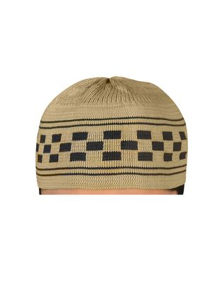 Brown islamic prayer cap with checkered pattern