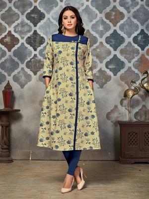 Beige embroidered rayon kurti