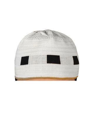 white islamic prayer cap with black box pattern