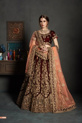 Maroon embroidered velvet unstitched lehenga with dupatta