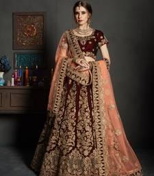 Maroon embroidered velvet unstitched lehenga with dupatta