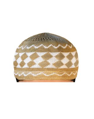 brown islamic prayer cap with rhombus pattern