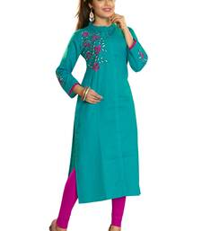 Aqua Blue Embroidered Cotton Kurti