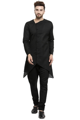 Designer Black Linen Kurta With Black Churidar Pyjama For Men By Treemoda