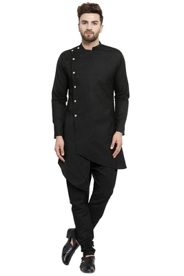 Designer Black Linen Kurta With Black Churidar Pyjama For Men By Treemoda