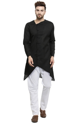 Designer Black Linen Kurta With White Churidar Pyjama For Men By Treemoda
