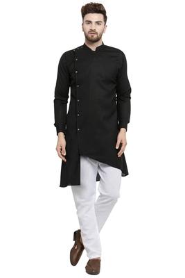 Designer Black Linen Kurta With White Churidar Pyjama For Men By Treemoda