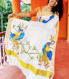 white hand printed cotton saree with blouse