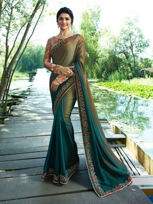 Green Embroidered Brocade Silk Saree With Blouse
